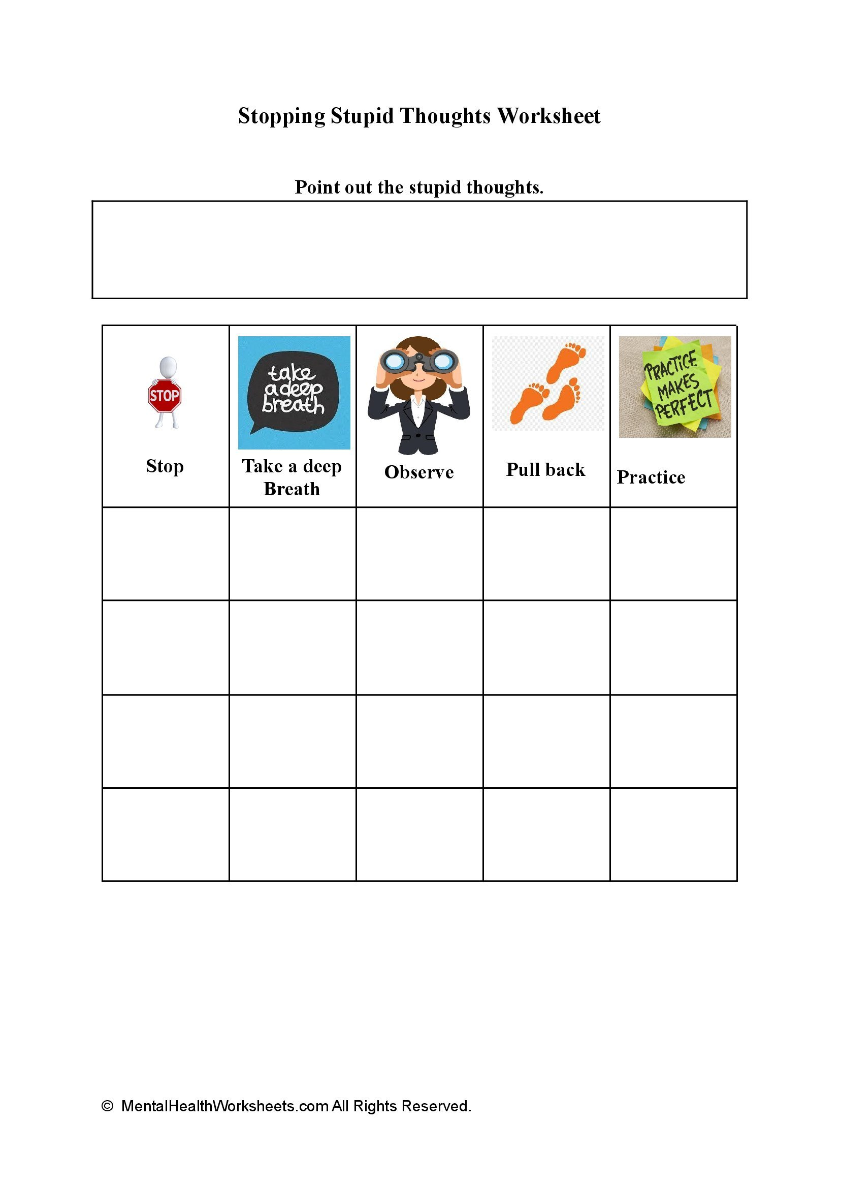 Stopping Stupid Thoughts Worksheet