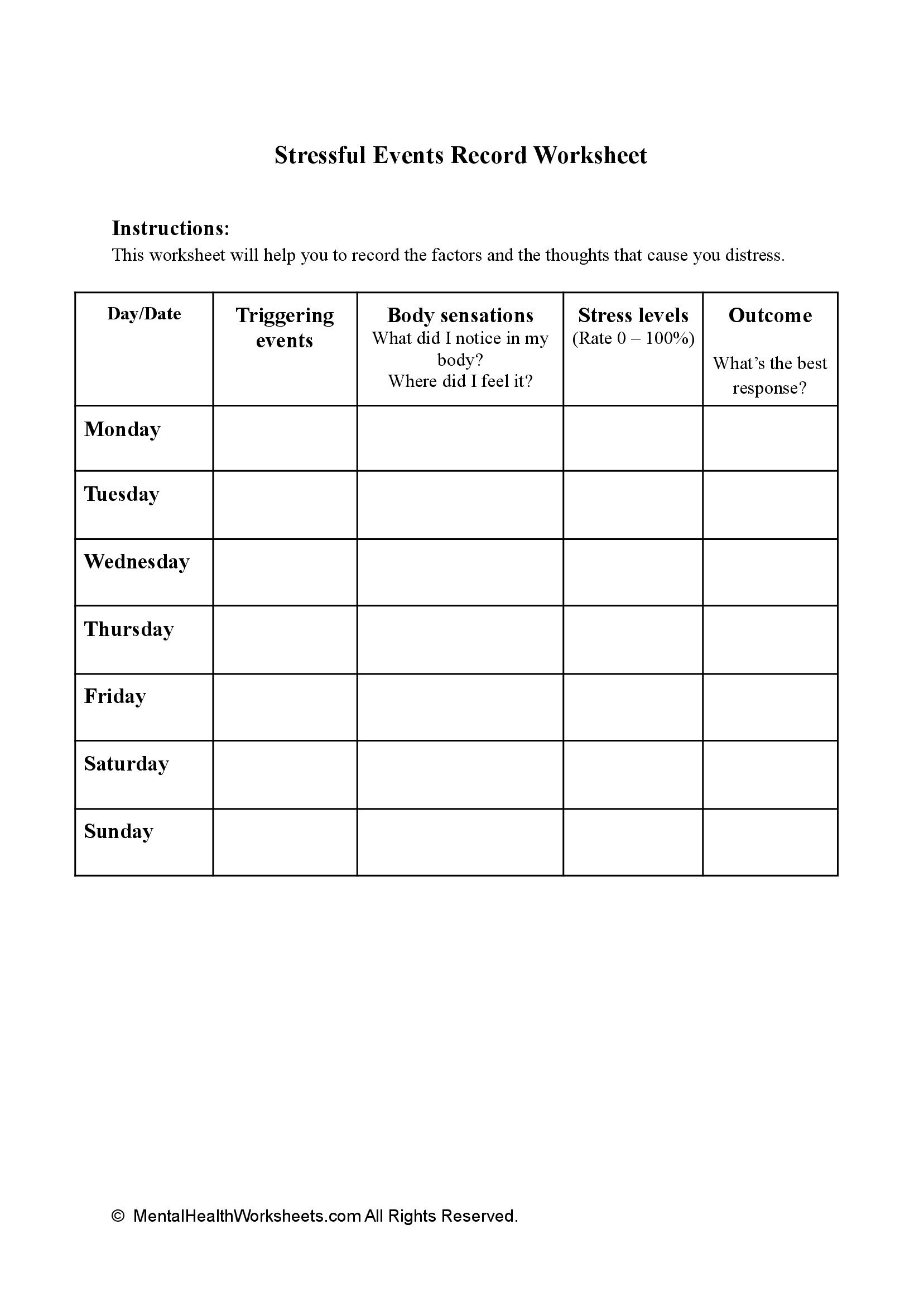 Stressful Events Record Worksheet