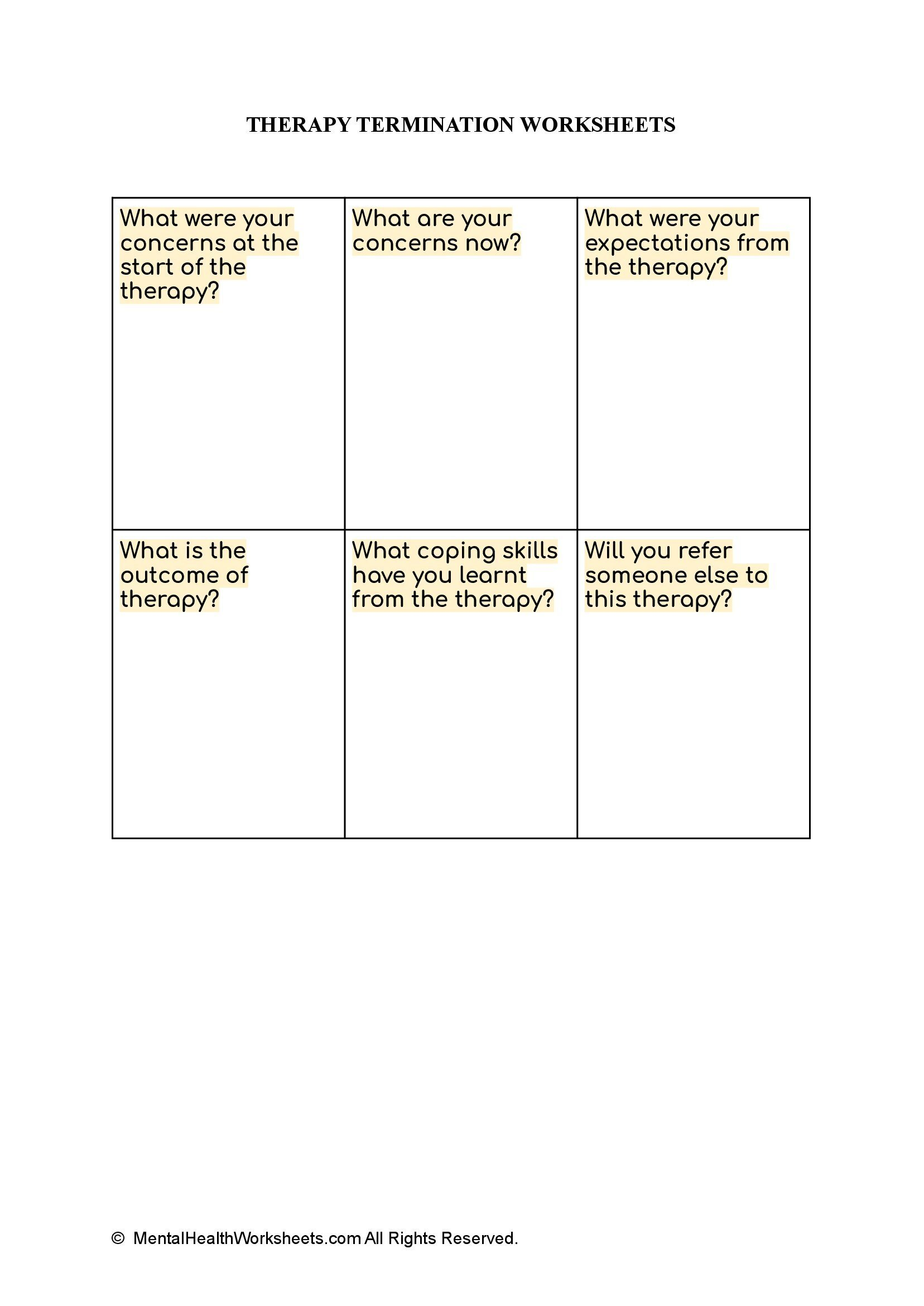 THERAPY TERMINATION WORKSHEETS