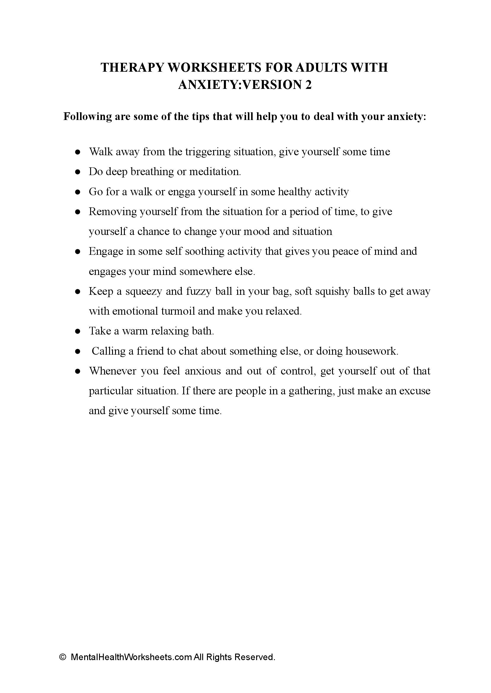 THERAPY WORKSHEETS FOR ADULTS WITH ANXIETY:VERSION 2