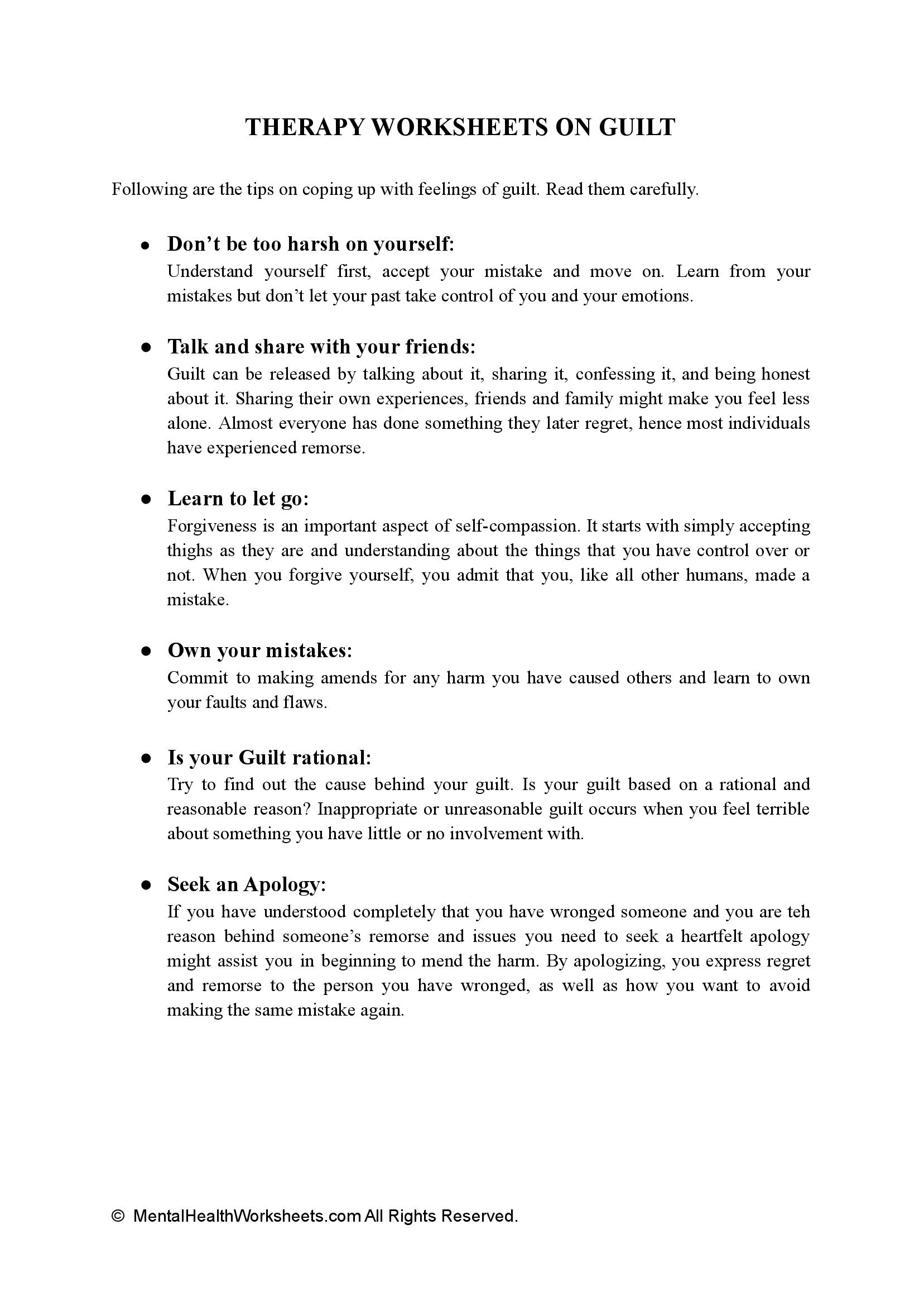 THERAPY WORKSHEETS ON GUILT