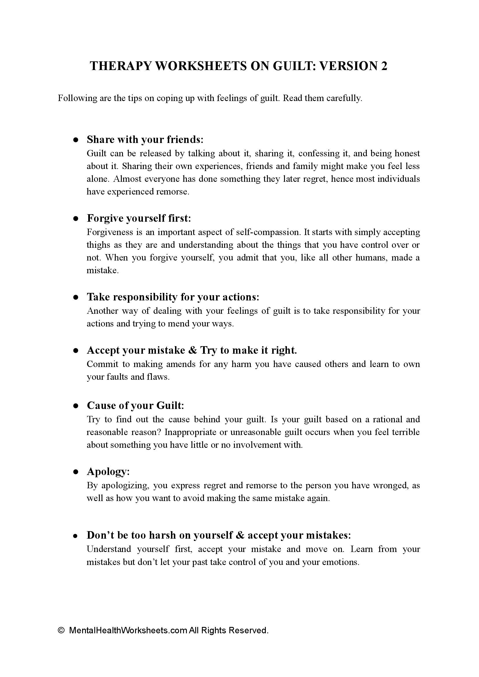 THERAPY WORKSHEETS ON GUILT: VERSION 2