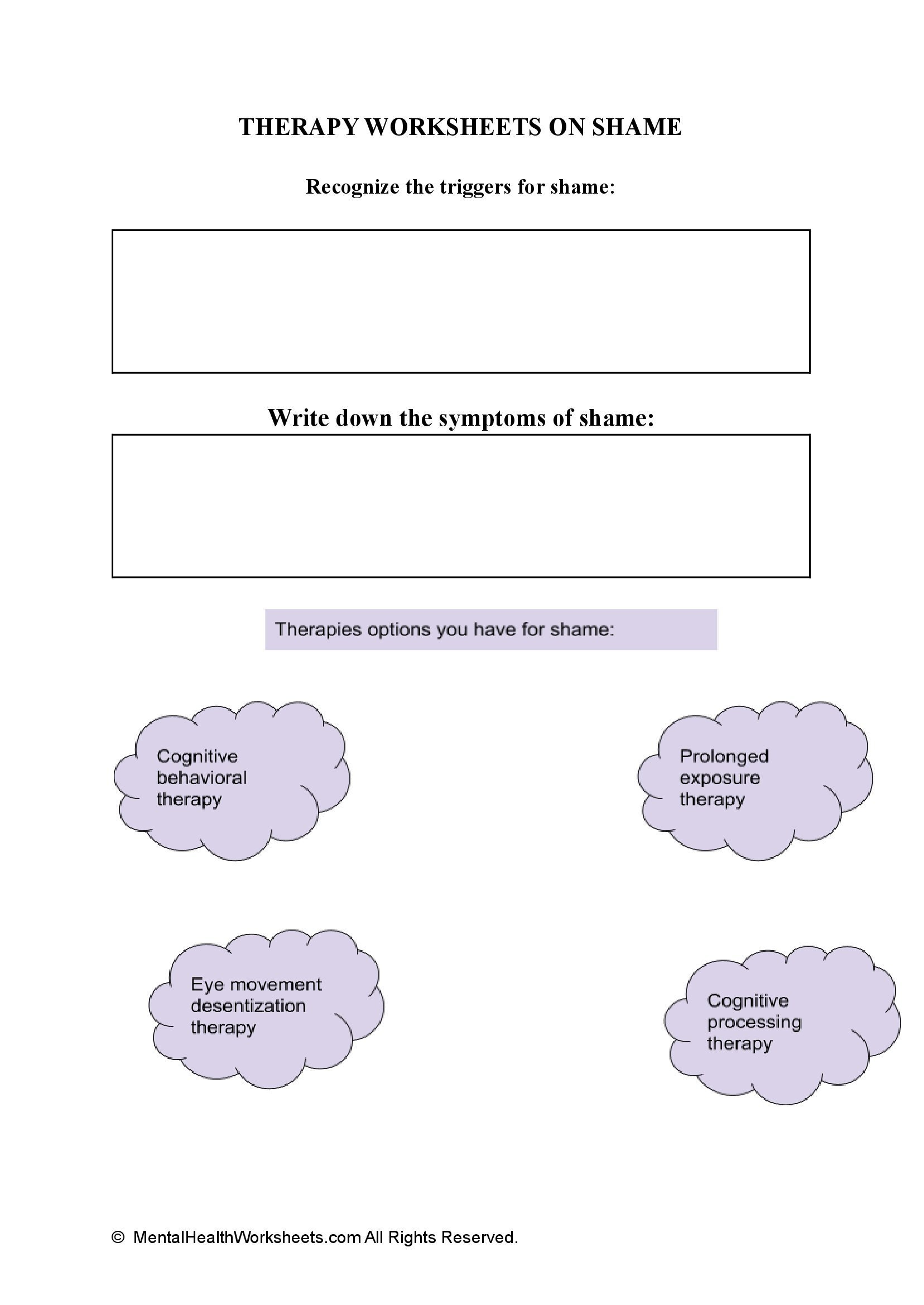 THERAPY WORKSHEETS ON SHAME