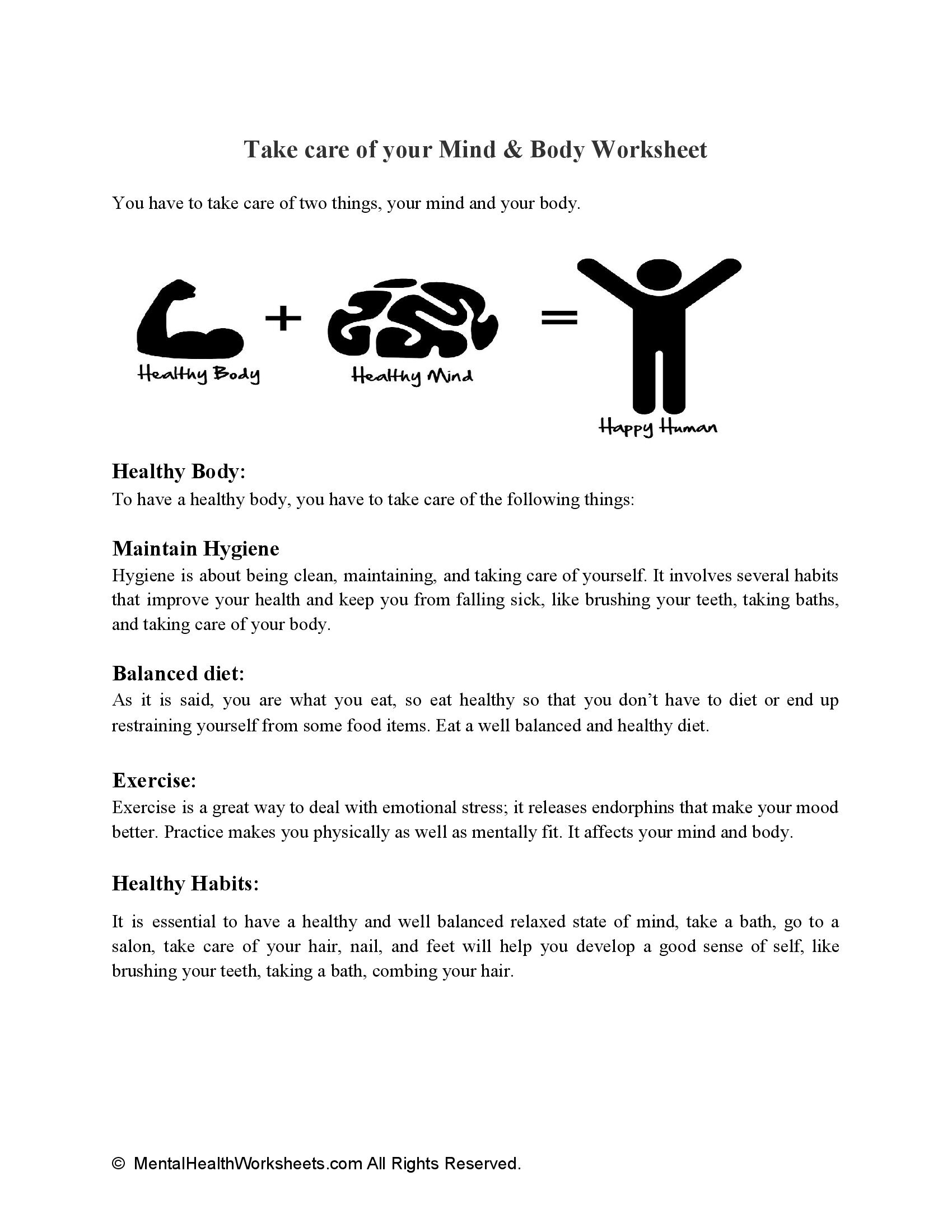 Take care of your Mind & Body Worksheet