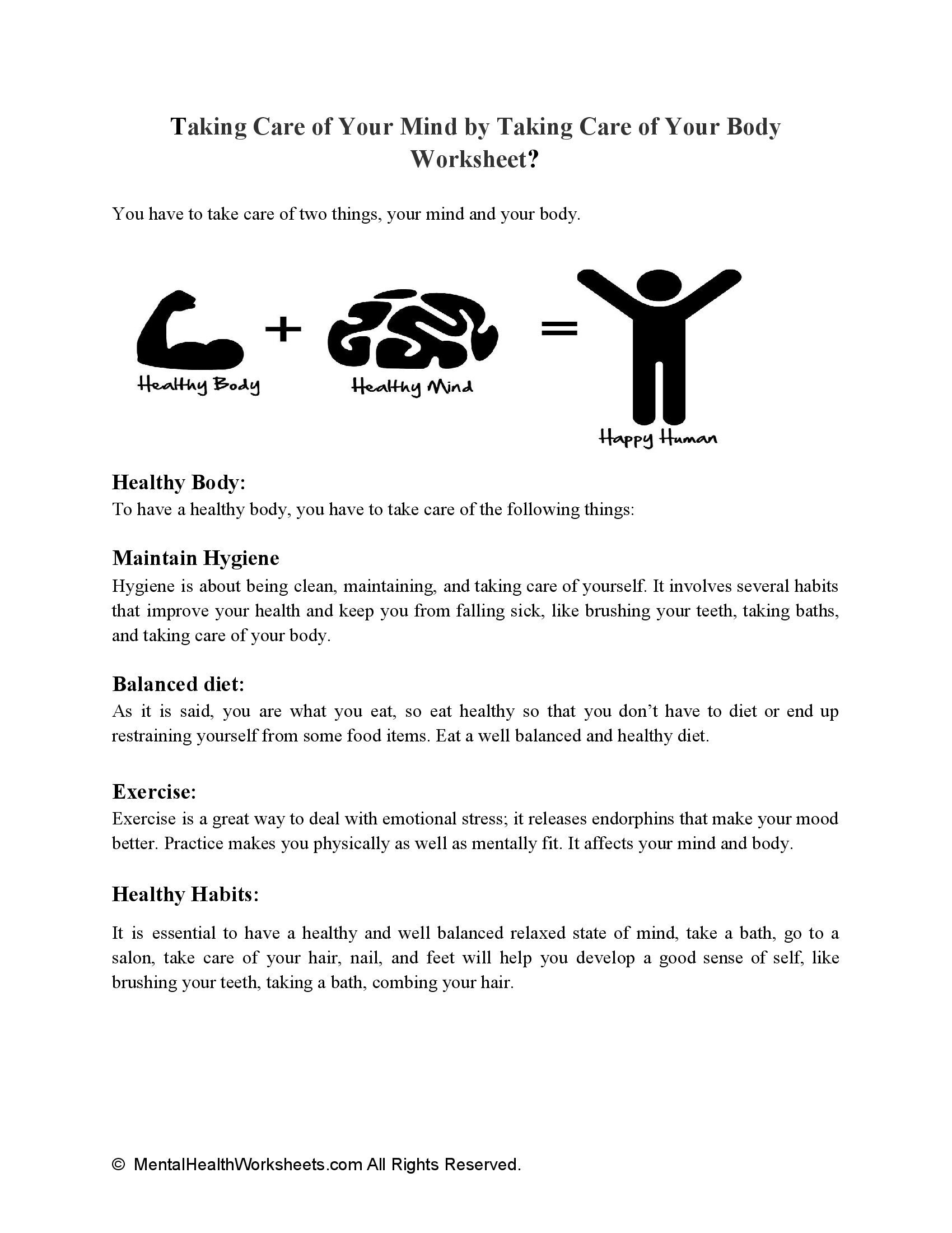 Taking Care of Your Mind by Taking Care of Your Body Worksheet