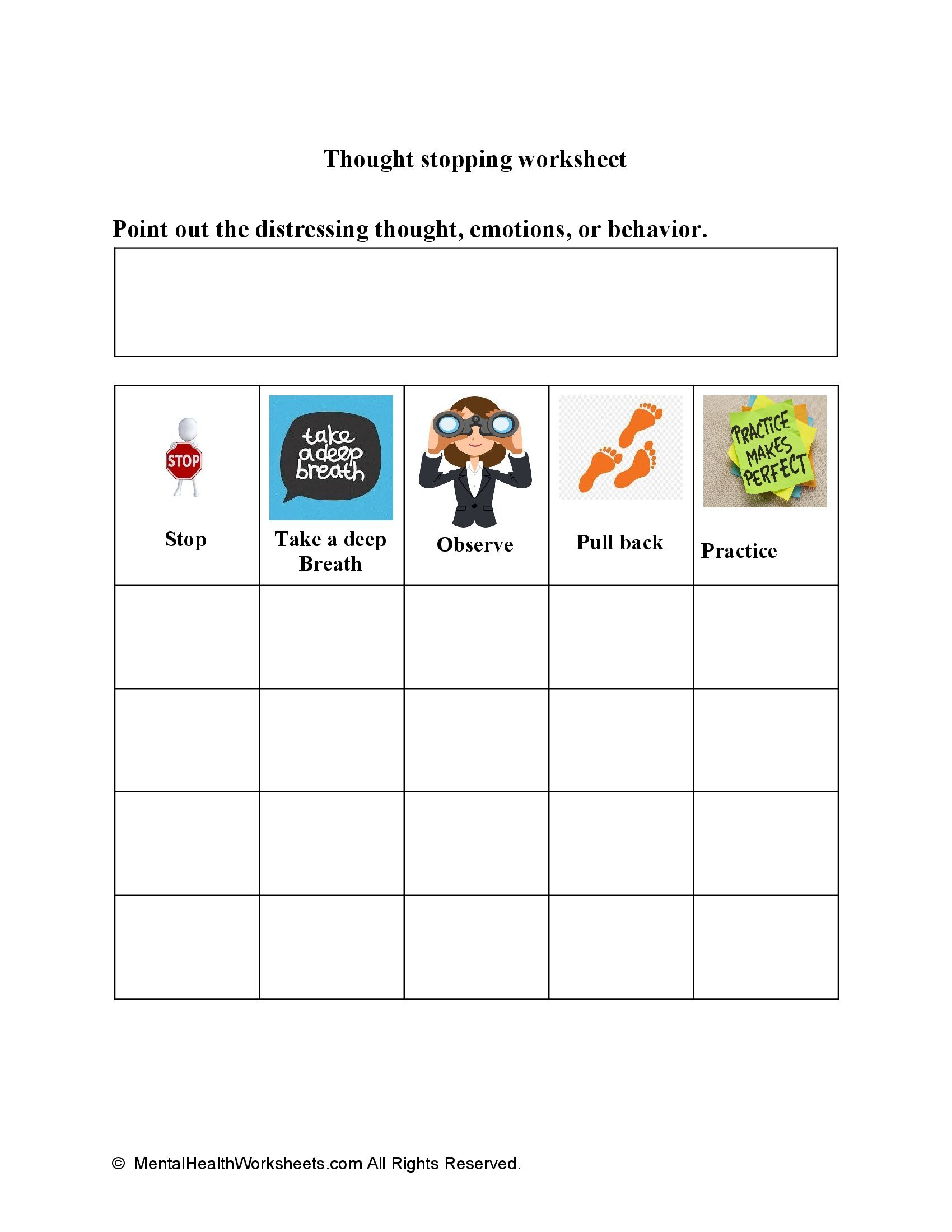 Thought stopping worksheet