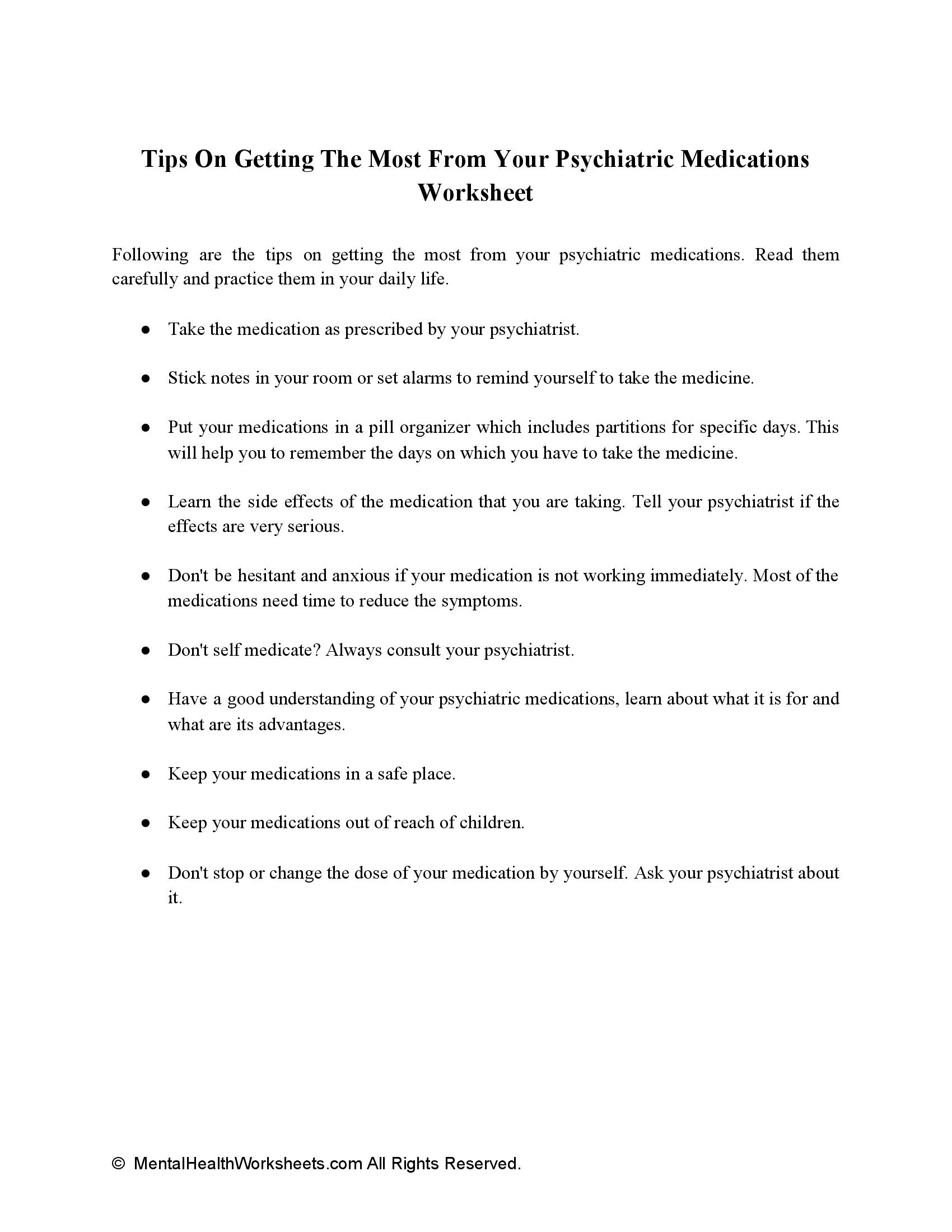Tips On Getting The Most From Your Psychiatric Medications Worksheet