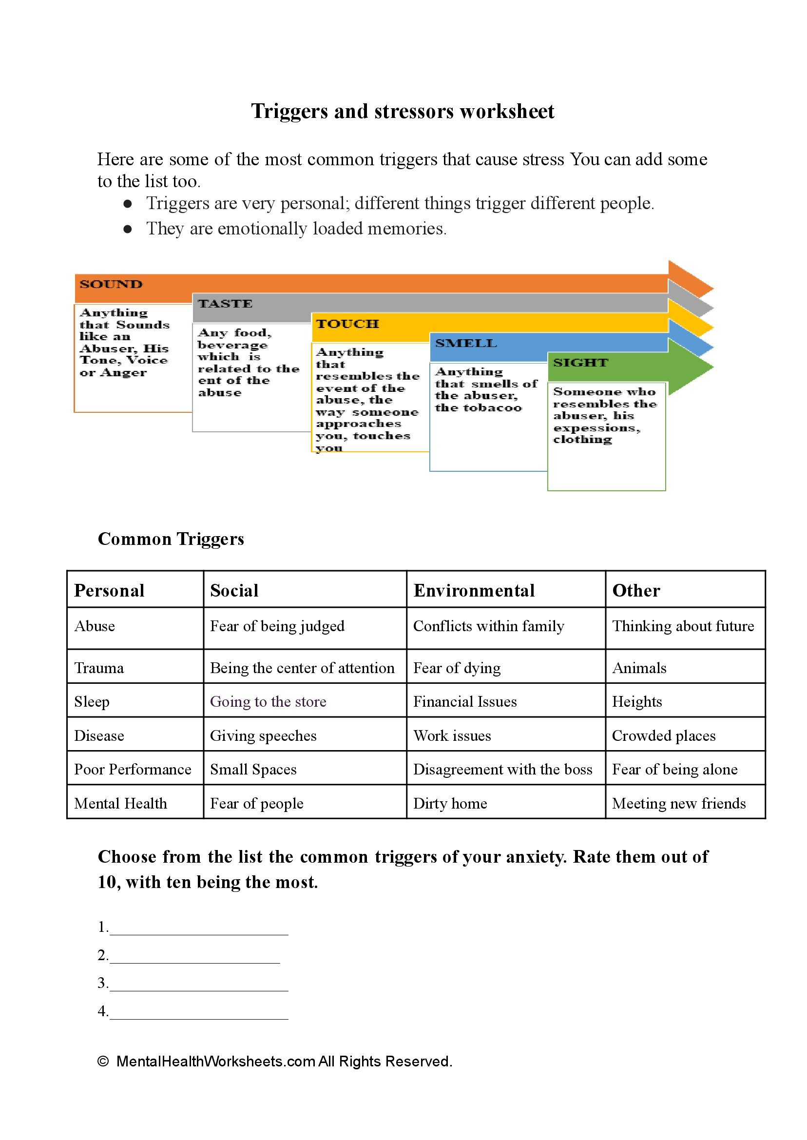 Triggers and stressors worksheet