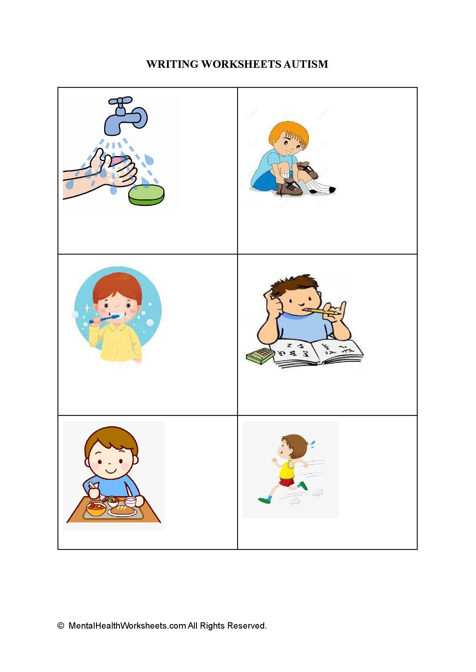 WRITING WORKSHEETS AUTISM