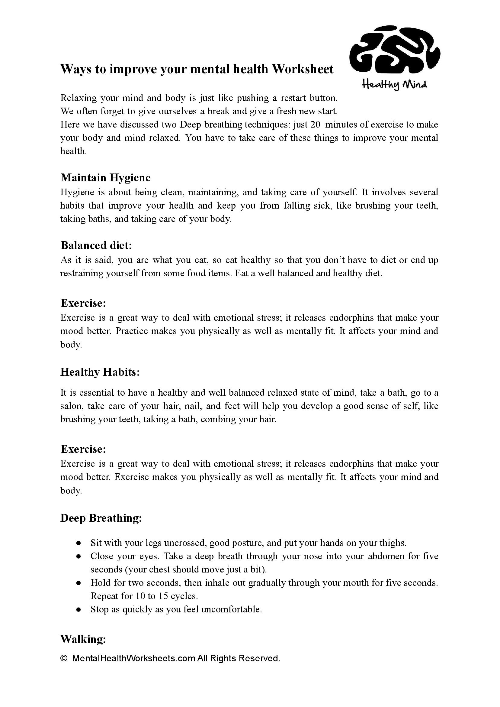 Ways to improve your mental health Worksheet