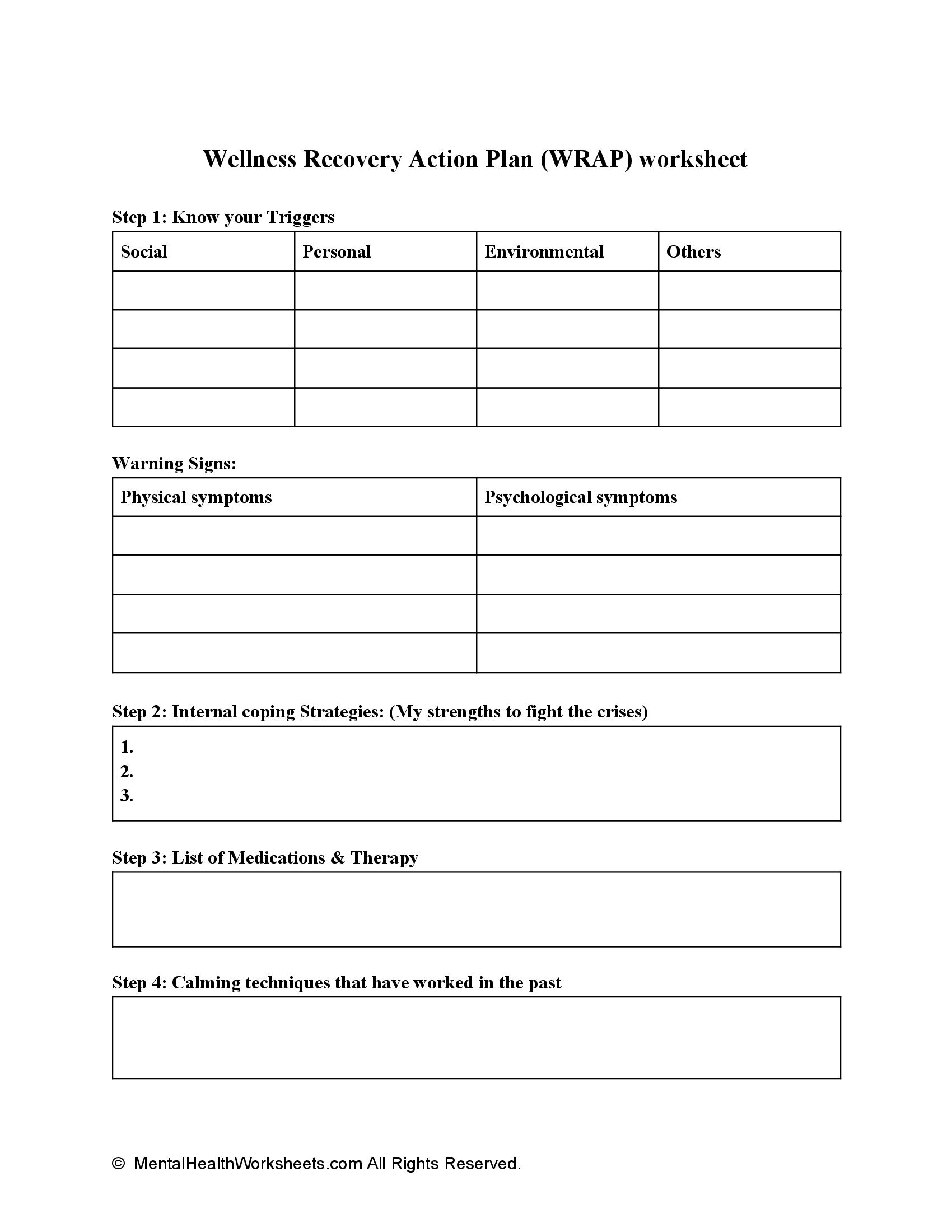 Wellness Recovery Action Plan (WRAP) worksheet