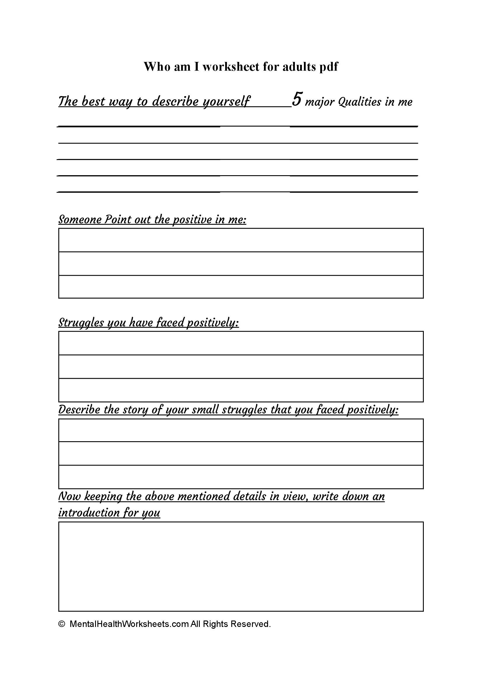 Who am I worksheet for adults pdf